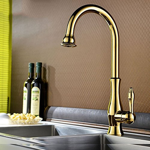 3022 High-grade gold SUhang Kitchen Sink Taps All Copper Antique gold Lowered Basin Faucets Single Handle Double-Controlled Hot And Cold To Pull-Down Kitchen Balcony Basin, Kim