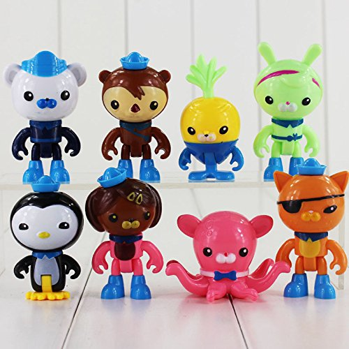 8pcs/lot The Octonauts Action Figure Toy Captain Barnacles Kwazii Cat Peso Penguin Shellington Dashi Professor Mini Model Doll -
