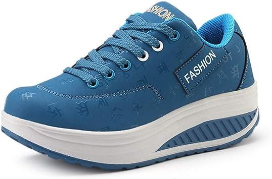 WJNBCRGLM Nueva Plataforma Chaussure Femme Calzado Deportivo Mujer Cuero Dama Calzado Deportivo Verano Zapatillas Zapatillas de Deporte Mujer Azul, 39: Amazon.es: Deportes y aire libre