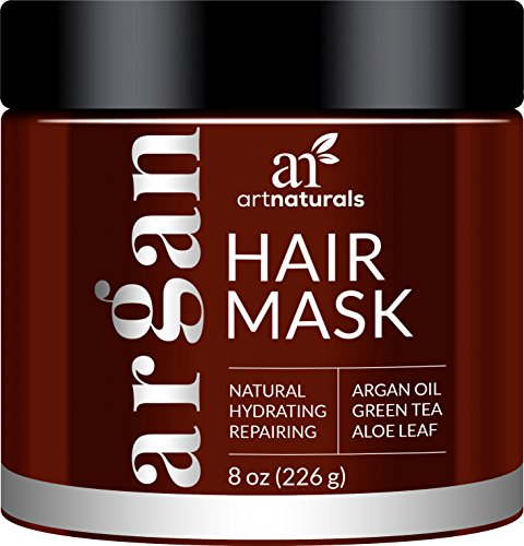 ArtNaturals Argan Oil Hair Mask – Deep Conditioner, 100% Organic Jojoba, Aloe Vera and Keratin, Repair Dry, Damaged or Color Treated Hair after Shampoo for All Hair Types, Sulfate Free, 8 oz.