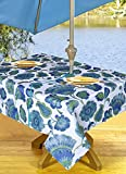 High Quality Outdoor Tablecloths, Umbrella Hole With Zipper Patio Tablecloth, Stain Resistant, Spill Proof, Shrink Resistant, Non-Iron, Beauty and Performance (54'' x 72'', Turquoise Flowers)
