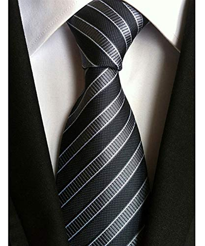 Men's Classic Black Stripe Tie Jacquard Woven Silk Necktie + Gift Box