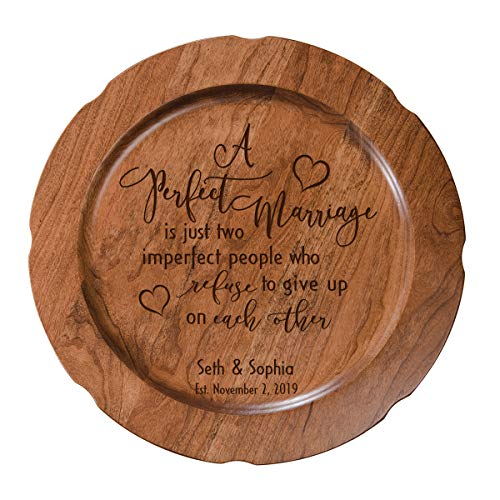 - LifeSong Milestones Personalized Cherry Wood A Perfect Marriage Wedding Anniversary Plate Gift for Her, Happy Anniversary for Him, 12