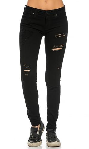Destructed Boyfriend Jeans in Blue Black White (Plus Sizes Available S-XXXL)