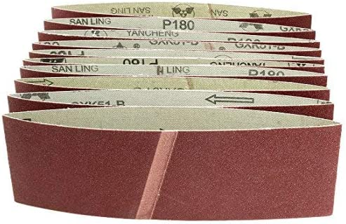 - Aluminum oxide sanding belt, grain joint, 180 mm, 3 inches x 18 inches, 10 pieces