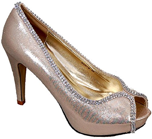 Dazzling Peep-Toe Court Shoe In Metallic-Look Satin Finish With Diamante Trim, Internal Platform For Extra Height Without The Pain! From Niche Collections Gold