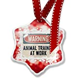 Christmas Ornament Warning Animal Trainer At Work Vintage Fun Job Sign, red - Neonblond