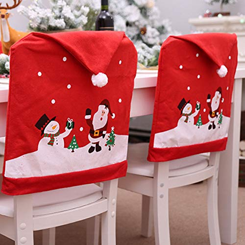Christmas Santa Claus Hat Christmas Chair Covers, 4 Pack Santa Claus Party Gift Dinner Dinning Christmas Table Decorations Tableware Set