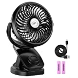 Rechargeable Battery Operated Clip on USB Desk Fan, COMLIFE 4400mAh Battery/USB Powered Fan Mini Portable Personal Fan for Baby Stroller, Car, Gym, Office, Outdoor, Travel, Camping