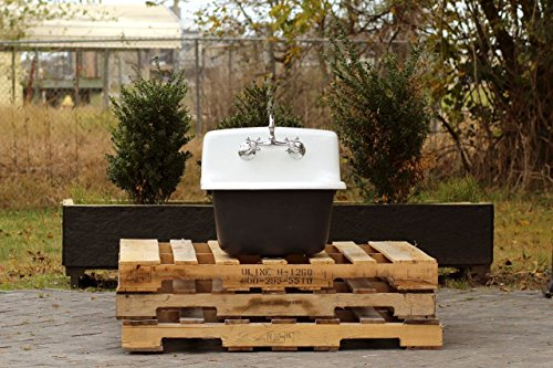 Vintage Style Deep Utility Sink Antique Inspired High Back Cast Iron Porcelain Farm Sink Package Tricorn Black by re