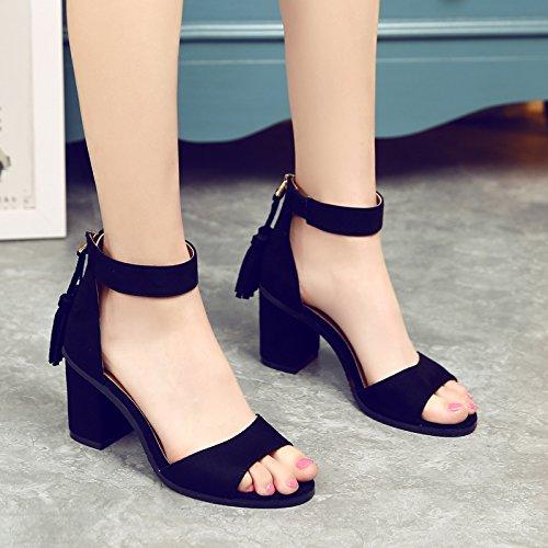 Fente Le 5cm De Débit Au Avec Noir Sangle Femme Eu38 Shoeshaoge High À La Sandales Gros heeled w0qX7P7