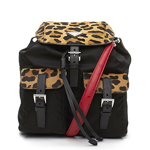 Prada Cheetah Pony Hair Leather Canvas Backpack Handbag (Prada Canvas Handbag)