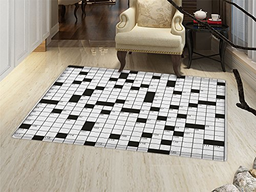 smallbeefly Word Search Puzzle Door Mats for home Classical Crossword Puzzle with Black and White Boxes and Numbers Bath Mat Bathroom Mat with Non Slip Black and White