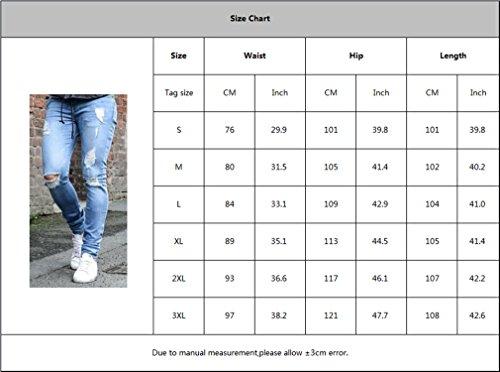 Vita Slim Nero Tasche Lunghi 4xl Pantaloni S 1 Fit Per Con Uomo Strappato Media Jeans Skinny Moda Confortevole nzUPU0aqw