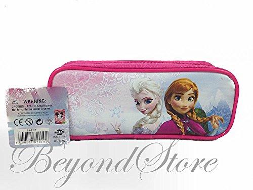 (1 X Disney Frozen Princess Elsa and Anna Pink Pencil Case Pouch Bag)