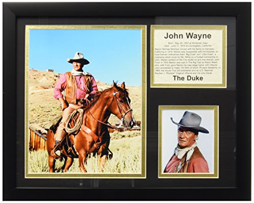 Legends Never Die John Wayne On Horse Framed Photo Collage, (John Wayne Framed)