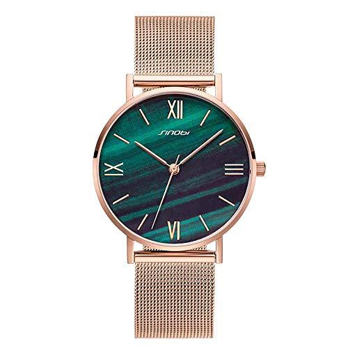 SINOBI Creative Design Simplicity Women Watch Elegant Diamond Mesh Band Women Watches Ladies Wristwatch (S9709L-Green-Mesh ()