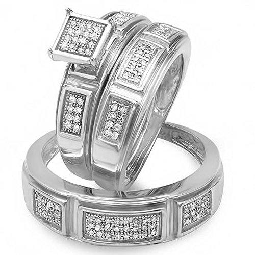 - Dazzlingrock Collection 0.33 Carat (ctw) Round Cut Diamond Men & Women's Engagement Ring Trio Bridal Set 1/3 CT, Sterling Silver