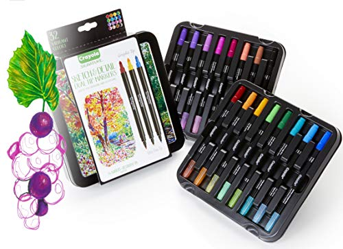 (Crayola Sketch & Detail Dual-Tip Markers, Decorative Case, Hand Lettering Markers, 16 Count,)