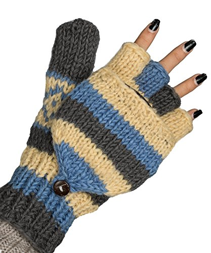 Convertible 100% Wool Mittens Gloves Soft Pure Winter Warm Thinsulate Thermal, Blue, - Thinsulate Thermal Womens