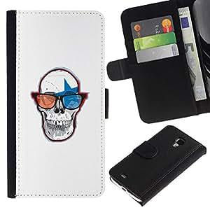 NEECELL GIFT forCITY // Billetera de cuero Caso Cubierta de protección Carcasa / Leather Wallet Case for Samsung Galaxy S4 Mini i9190 // Cráneo Gafas 3D