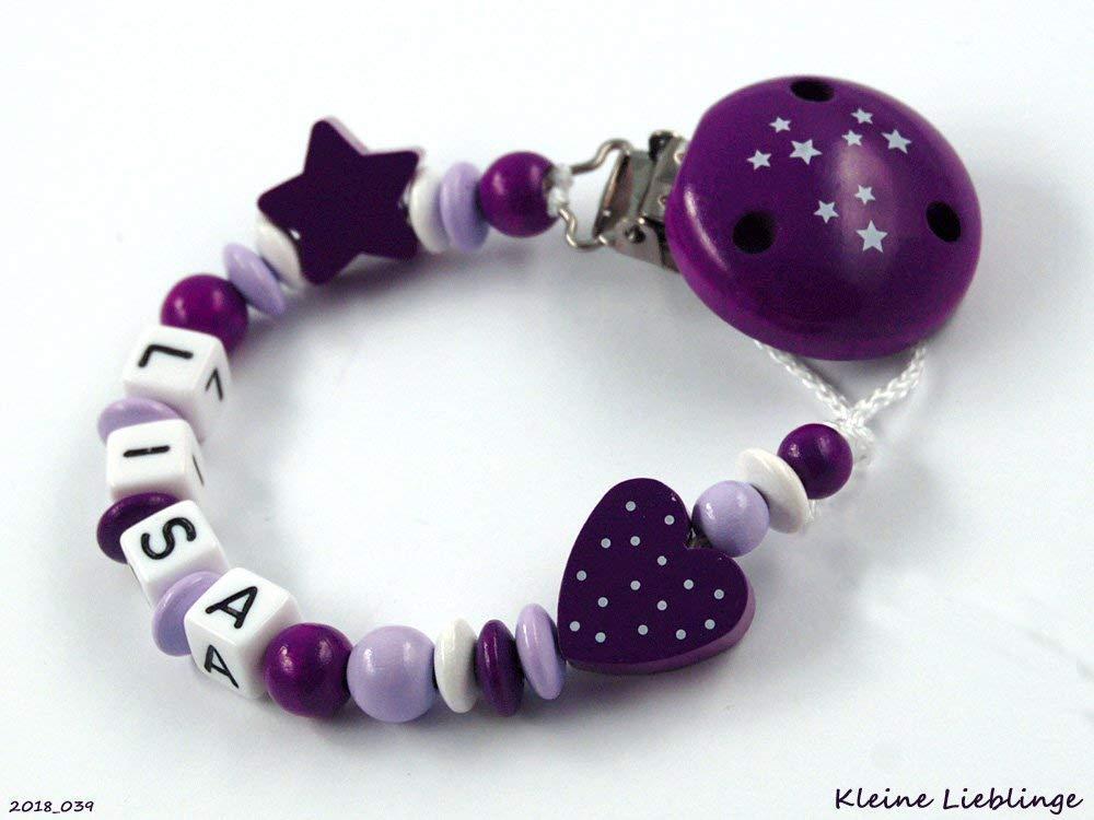 Schnullerkette mit Namen • Herz /& Stern • lila grau • Baby Mädchen Geschenk