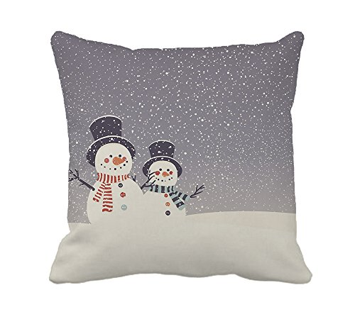 Snowman and Snowfall Merry Christmas Home Decor Throw Pillow Cover Cotton Polyester Cusion Cover 18 x 18 Inches (Pillow Throw Snowman)