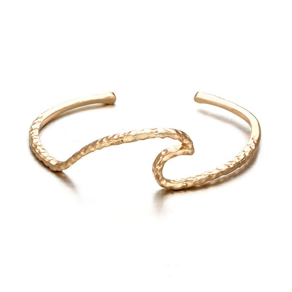 Zainafacai Women Boho Punk Cuff Wave Cuff Bangle Charm Jewelry Winding Hollow Bracelet Gift for Lady