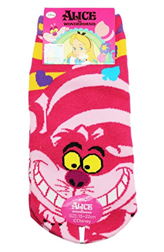 Alice in Wonderland Cheshire Cat Pink Striped Kids Socks (1 Pair, Size 15-22cm)