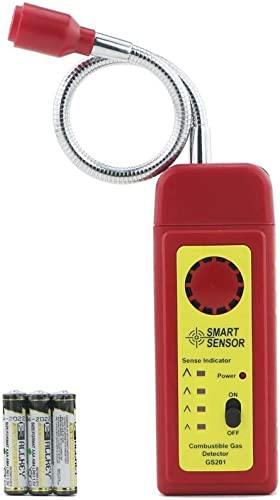 Gas Detector Alarm, Portable Natural Gas Tester Detector Combustible Propane Methane Gas Sensorr, Combustible Gas Sniffer with Sound Warning, Adjustable Sensitivity and Flex Probe