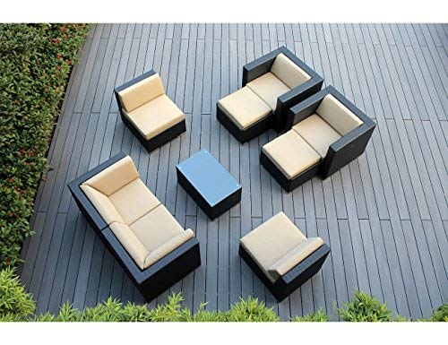 Ohana 9-Piece Outdoor Patio Furniture Sectional Conversation Set, Black Wicker with Sunbrella Antique Beige Cushions - No Assembly with Free Patio Cover ()