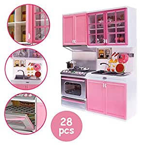 Toy Kitchen Set Fun 28 Pcs Mini Realistic Kitchen Cabinet Stove Play Set With