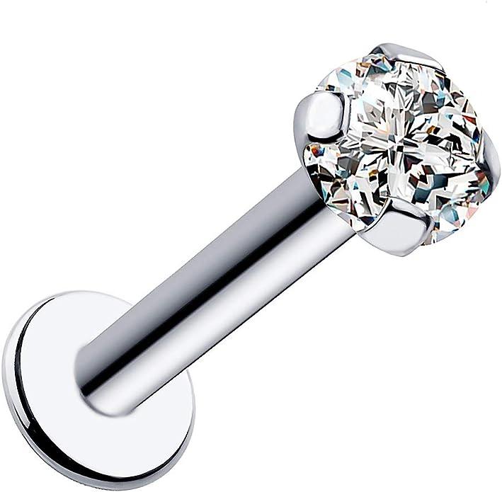 FreshTrends 2mm 0.03 ct tw SI1 Diamond 14K White Gold Low Profile Prong Set Labret Lip Ring Tragus Earring 14G 1//4