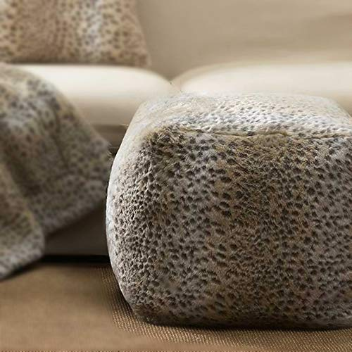 (TINA'S HOME Snow Leopard Faux Fur Bean Bag/Pouf | Tan Ottoman for Living Room (18-inch,)