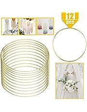 YG_Oline 12 Pcs 4 Inch Macrame Hoops Ring Metal Floral Hoop Crafts Hoops Wreath Macrame Gold Hoop Rings Macrame Creations Ring for Making Dream Catcher Macrame Wall Hanging Craft