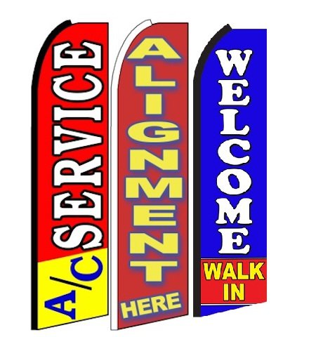 AC service , alignment here ,Welcome Walk In King Swooper Feather Flag Sign- Pack of - Walk In Ac The