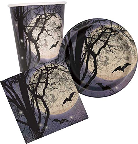 Disposable Dinnerware Set - Serves 8 - Halloween Party Supplies with Moon and Bats Design - Includes Paper Dessert Plates, Napkins, -