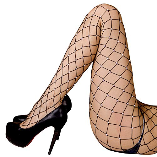 Women's 2PK Sparkle Rhinestone Black Fishnet Pantyhose,Seamless Mesh Hollow Out Tights Sexy Stockings
