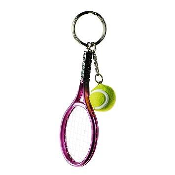 kentop llavero Creative Raqueta de tenis llavero metal Llavero con colgante pequeño regalo para tenis entusiastas 3.7 * 12cm morado