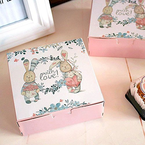 Lavenz Rabbit and friends Design Cheese Cake Paper Box, Cookie Container, gift Packaging (Set of (Assorted Cheesecakes)