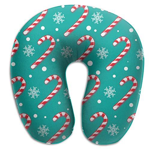 LinBei Christmas Blue Candy Cane Memory Foam Travel Neck Pillow Portable Cervical U Pillow Camping
