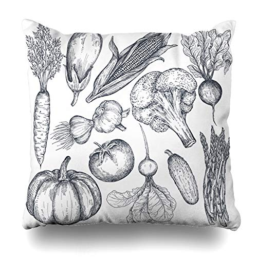 Ahawoso Throw Pillow Cover Pillowcase Ingredient Squash Farm Vegetables Food Drink Nature Pumpkin Agriculture Asparagus Beet Broccoli Zippered Square Size 20 x 20 Inches Home Decor Cushion Case