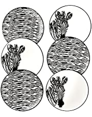 Zebra Pattern Ceramic Plates set of 6 By Piatti Naturali, 8.3 inch, Dessert Plates, Salad Plates, Luncheon Plates, Small Dinner Plates, Party Plates, Cake Plates, Appetizer Plates.
