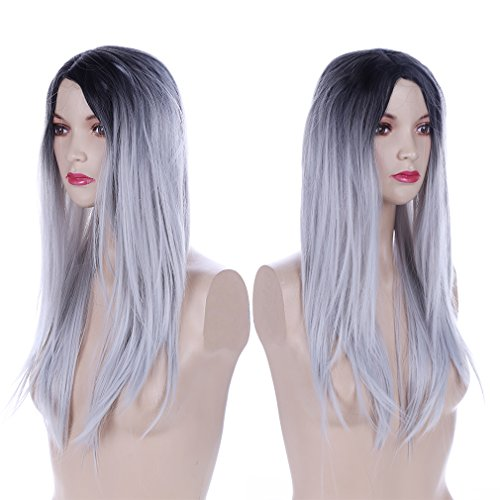 HS 1PC Hair Wigs Long Straight Hair Two Tone Brown and Grey Ombre Wig for Women
