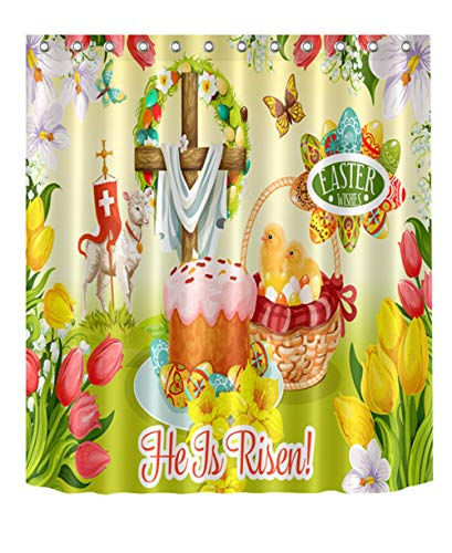 (LB Easter Whises He is Risen Shower Curtain,Symbol Jesus Christ Risen Ascension The Cross On Spring Floral Scene Easter Bathroom Decor,Waterproof Fabric 72x72 Inch)