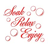 TOOGOO(R) SOAK RELAX ENJOY Bathroom Wall Art Sticker PVC Decal Home Art Decoration: red