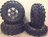 Bundle - 9 Items: ITP SS212 14'' Wheels Black 27'' Swamp Lite Tires [4x156 Bolt Pattern 12mmx1.5 Lug Kit]