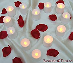 LED Lighted Flickering VOTIVE SIZE Flameless Candles - Banberry Designs - Box of 12 - Wedding Decorations - White Faux Candles - Flameless Candle Set – Centerpieces
