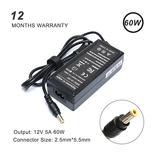 X-BO 12V 5A 60W AC Adapter Charger for Benq / Gem / HP / Megavision / LCD Monitor CTX / Princeton Senergy 2311X 2311F 2311CM ACER AC501 AC711 Viewsonic Slimage / SONY / JTX V9 FP2081 FP450 FP547 FP553 (Omnibook Ac Adapter Hp)