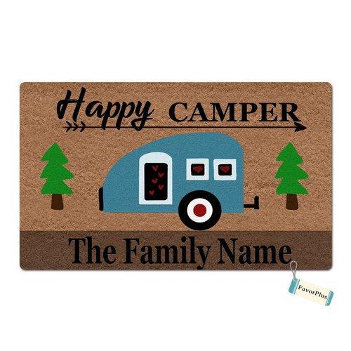 (Happy Camper Family Name Personalized Custom Outdoor/Indoor Funny Doormat Floor Door Mat Machine Washable Non Slip Mats Bathroom Kitchen Decor Area Rug for Entrance 23.6x15.7 inch)